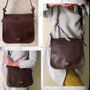COACH MAHOGANY LEATHER STEWARDESS SADDLE BAG